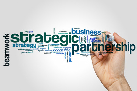Strategic partnership word cloud concept on grey background