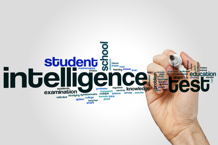 Intelligence test word cloud concept on grey background