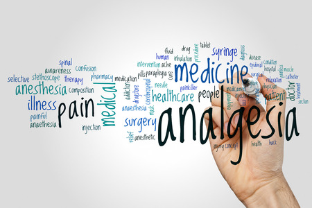 analgesia: Analgesia word cloud concept on grey background.
