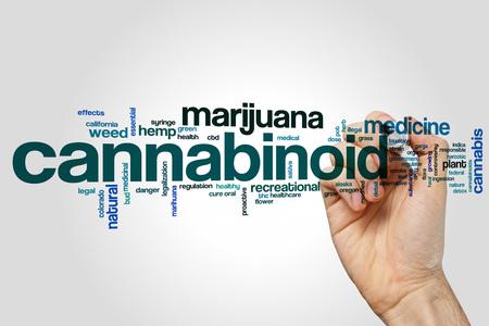 cannabinoid: Cannabinoid word cloud concept on grey background.