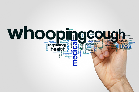 whooping: Whooping cough word cloud on grey background