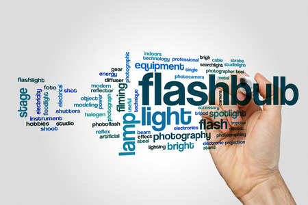 Flashbulb word cloud on grey background.