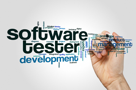 Software tester word cloud concept on grey background
