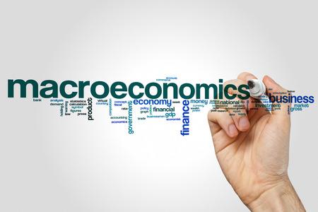 灰色の背景にマクロ経済学単語雲の概念 写真素材