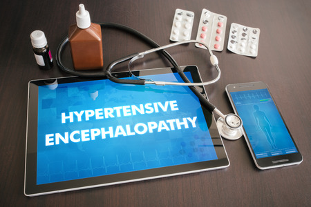 encephalopathy: Hypertensive encephalopathy (heart disorder) diagnosis medical concept on tablet screen with stethoscope.