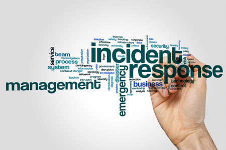 Incident antwoord woord wolk concept op grijze achtergrond Stockfoto - 73925195