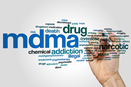 mdma: MDMA word cloud concept on grey background