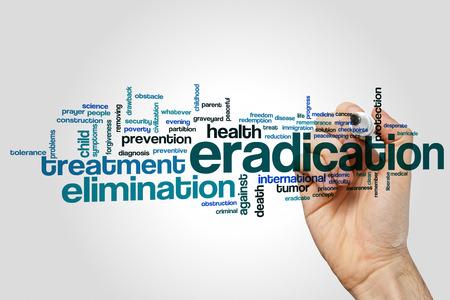 eradication: Eradication word cloud concept on grey background. Stock Photo