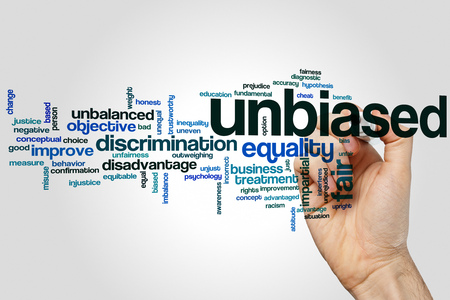 Unbiased word cloud concept on grey background Stock Photo