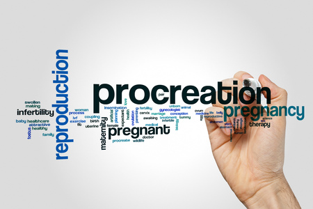 Procreation word cloud on grey background