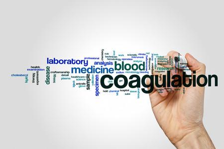 coagulate: Coagulation word cloud on grey background.