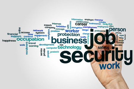 Job security word cloud concept on grey background Stock Photo