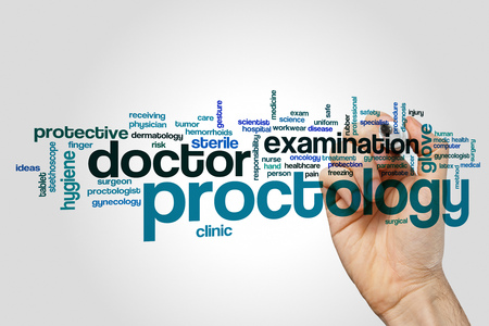 Proctology word cloud concept on grey background