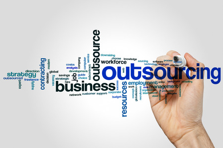Outsourcing word cloud concept on grey background