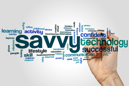 Savvy word cloud concept on grey background