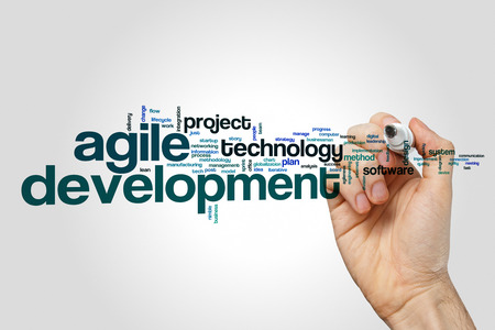 Development word cloud on grey background.