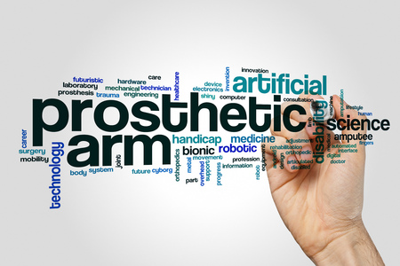 Prosthetic arm word cloud concept on grey background Stock Photo