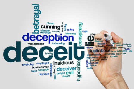 Deceit word cloud concept on grey background. Stock Photo