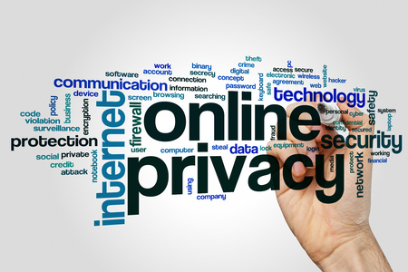 online privacy: Online privacy word cloud concept on grey background Stock Photo