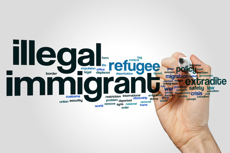 Illegal immigrant word cloud concept on grey background Stock Photo