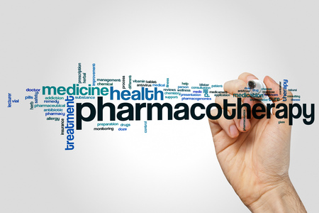 Pharmacotherapy word cloud concept on grey background Stock Photo