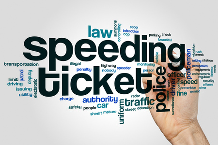 Speeding ticket word cloud concept on grey background