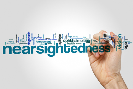 Nearsightedness word cloud concept on grey background