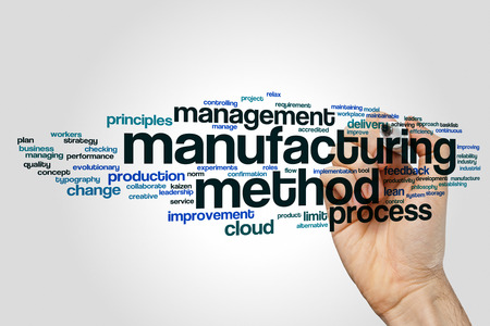 Manufacturing method word cloud concept on grey background
