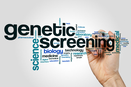 Genetic screening word cloud concept on grey background