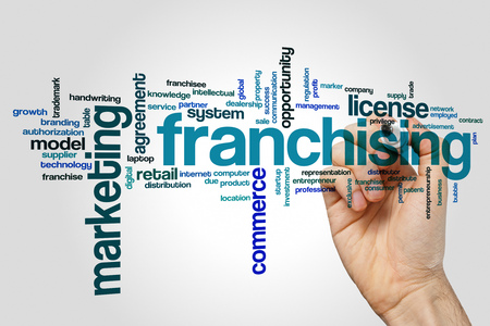 franchising: Franchising word cloud concept on grey background Stock Photo