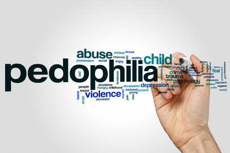 Pedophilia word cloud concept on grey background