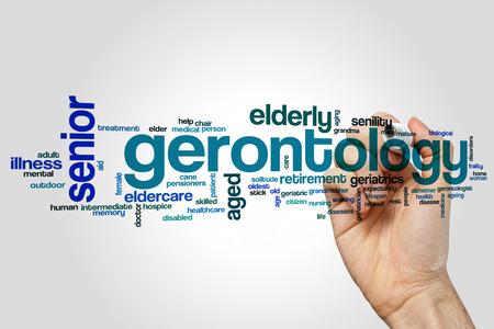 gerontology: Gerontology word cloud concept on grey background