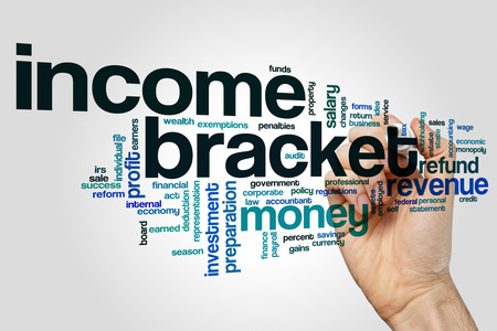 Income bracket word cloud on grey background