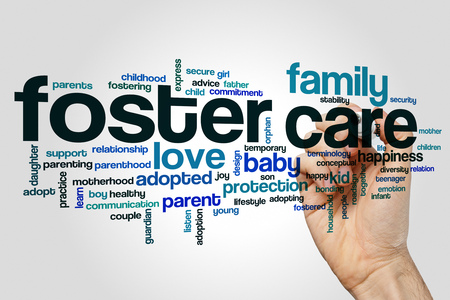 Foster care word cloud concept on grey background