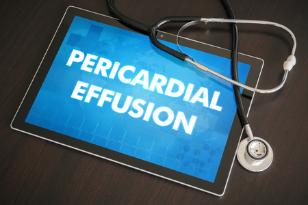 effusion: Pericardial effusion (heart disorder) diagnosis medical concept on tablet screen with stethoscope. Stock Photo