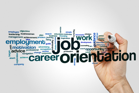 Job orientation word cloud concept on grey background Stock Photo