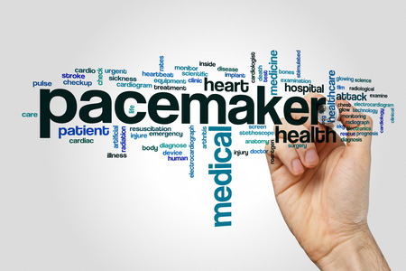 pacemaker: Pacemaker word cloud concept on grey background