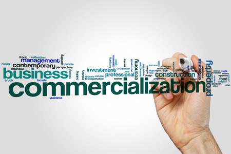 commercialization: Commercialization word cloud concept on grey background. Stock Photo