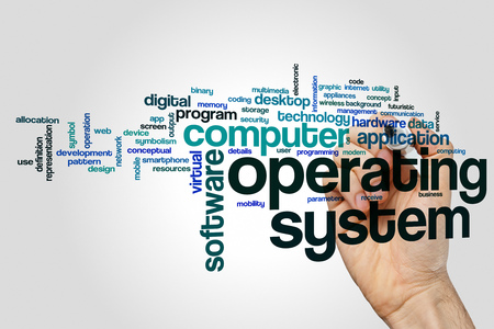 Operating system word cloud concept on grey background Stock Photo