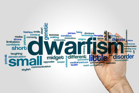 Dwarfism word cloud concept on grey background. Stock Photo
