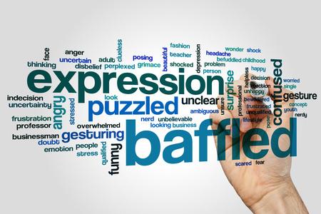baffled: Baffled word cloud concept on grey background. Stock Photo
