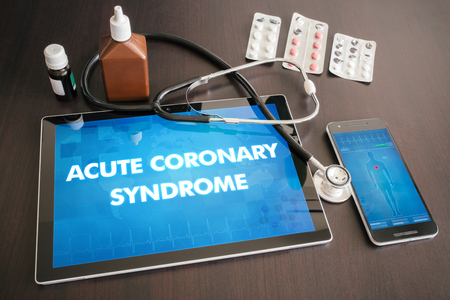 Acute coronary syndrome (heart disorder) diagnosis medical concept on tablet screen with stethoscope.