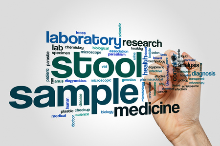 stool blood: Stool sample word cloud concept on grey background