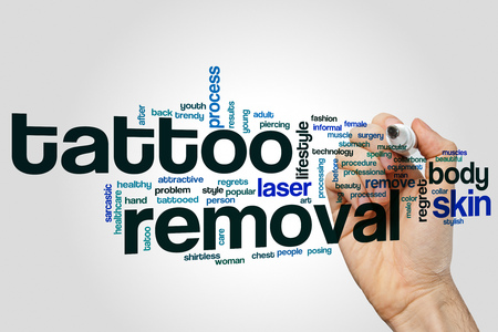 Tattoo removal word cloud concept on grey background Foto de archivo