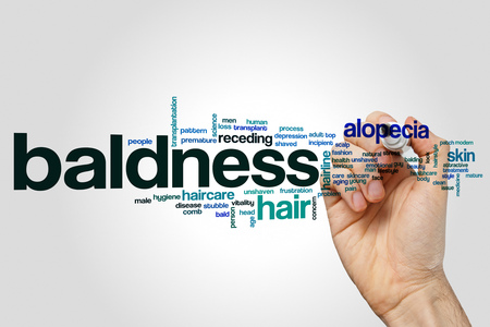 hairline: Baldness word cloud concept on grey background. Stock Photo