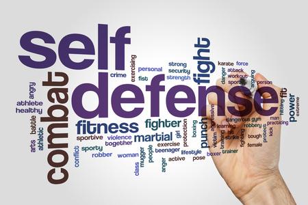 Self defense word cloud concept on grey background Foto de archivo