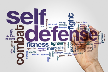 Self defense word cloud concept on grey background Stockfoto