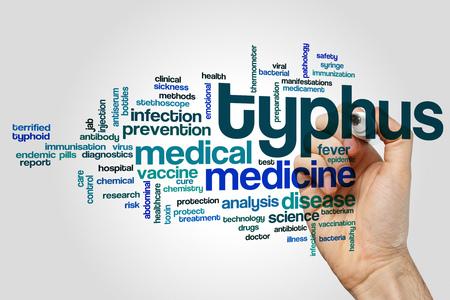 typhus: Typhus word cloud concept on grey background