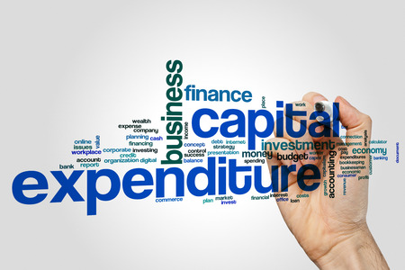Capital expenditure word cloud concept  on grey background.