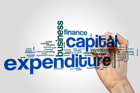Concepto de la nube de la palabra del gasto de capital en fondo gris. Foto de archivo
